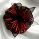 Broche fleur en tissu & plumes et perles 188*