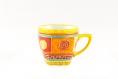 Tasse à café 20 cl expresso en porcelaine peint à la main couleur jaune et multicolore