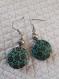 B798 boucles d'oreilles en métal argenté et perles plates bombées aux motifs fleuris
