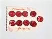 Bouton nacre rouge vintage 22 mm rond plat lot de 9