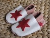 Chausson cuir - fille- rose/blanc - taille 25