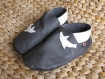Chausson cuir - fille- gris/dauphin - taille 32