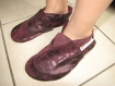 Chausson cuir - fille - violet patiné  - taille 34
