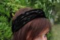 Headband en velours motif pois