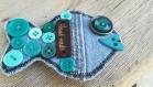 Broche poisson menthe jeans recyclé