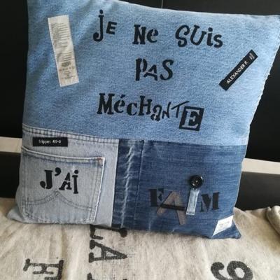 Housse de coussin jeans recyclé