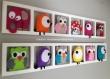 Cadeau naissance original pour bebe- déco chambre bébé unique et personnalisée; hiboux et chouettes multicolores