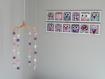 Cadeau naissance original pour bebe- déco chambre bébé unique et personnalisée - hiboux et chouettes rose lila beige
