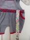 Sac deco : salopette bebe gris et rouge