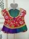 Sac deco: robe : rouge à fleurs, vert violet
