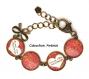 S.7.377 bijou maman bracelet maman - coeur bonne fête maman fleurs liberty multicolore rose jaune bijou fantaisie bronze bracelet 4 cabochons verre cadeau maman cadeau fête des mères (série 1)
