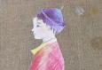 Toile lin technique mixte 2012 enfant asie