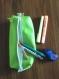Trousse d'Écolier verte, rangement stylos similicuir vert