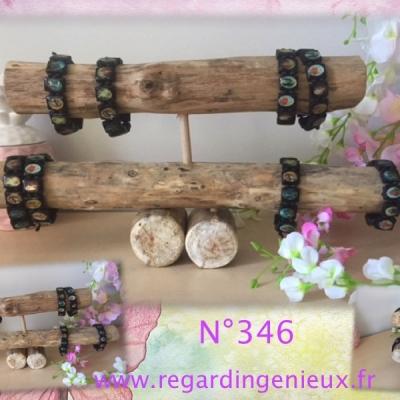 Presentoir bijoux bracelets a 2 etages en bois flotte n°346