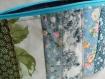 Trousse à maquillage en tissu patchwork, pochette zippée tissu fleuri coton, doublure tissu coton bleu, fermeture zippée
