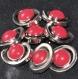 B65c1r / mercerie boutons vintages ovales plastique argenté et rouge 22mm x 18mm vendus en lot de 7
