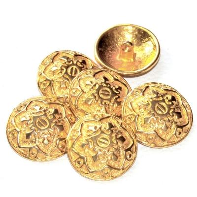909r / mercerie lot de 6 gros boutons de créateur en métal doré 26mm