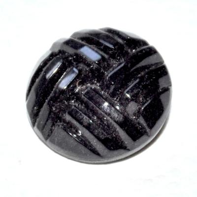 989r / gros bouton couture ancien en verre noir 22mm vendu à l'unité