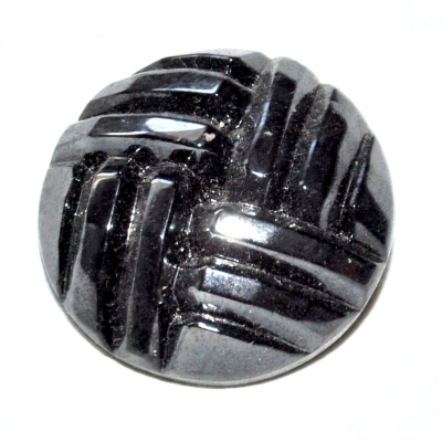 990r / bouton couture ancien en verre noir reflets argentés 22mm vendu à l'unité
