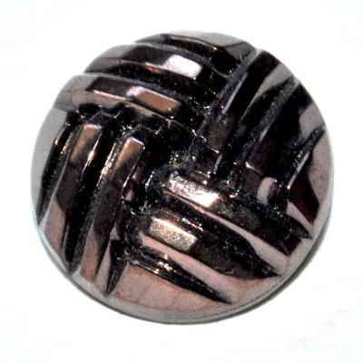 991r / bouton couture ancien en verre noir reflets marron cuivré 22mm vendu à l'unité