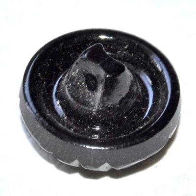 992r / bouton couture ancien en verre noir reflets 18mm vendu à l'unité