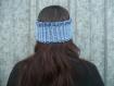 Cache-oreilles bandeau réversible au tricot main bleu jean