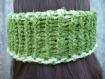 Cache-oreilles bandeau réversible au tricot main vert