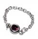 6186f / bague fine chaine chainette acier inoxydable cristal bordeaux t 58 bijou