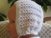Bonnet bébé blanc 6 mois
