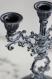 Bougeoirs anciens patinés, chandeliers vintage - en métal, remis au goût du jour- shabby chic- romantique - gustavien - gris, blanc, argent
