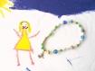 Bracelet perles en bois, verre, fimo, nacre et métal, bracelet breloque oiseau