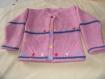Gilet en tricot rose bleu,pour petite fille -- pièce unique