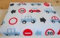 Couverture coton voiture   -bleu/rouge-