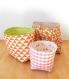 Lot de 3 paniers réversibles en tissu -orange / gris / vert-