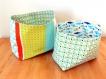 Lot de 2 paniers réversibles  en  tissu  - vert / bleu / blanc -