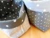 Lot de 2 paniers réversibles  en  tissu etoiles - gris / blanc -