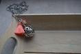 Bola de grossesse, pompon pêche, perles en cristal de swarovski