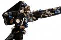 X10cm galon brodé main - perles breloques et boutons bleu
