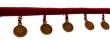 9m galon velours rouge avec pièces chinoises - avec défauts
