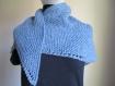 Chèche au tricot point mousse bleu