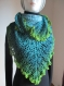 Châle au crochet bleu/vert