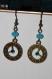 Boucles d'oreilles steampunk - montres bleues