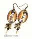 B3.125 bijou femme parisienne boucles pendants crochets bijou fantaisie bronze cabochon verre femme élégante fashion victim mode haute couture (série 2)