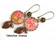 B3.135 bijou femme rose noeud boucles pendants bijou fantaise bronze cabochon verre fleur shabby liberty rayures (série 2)