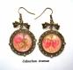 B3.136 bijou femme rose noeud boucles d'oreilles filigrane crochets noeuds bijou fantaise bronze cabochon verre fleur shabby liberty rayures (série 2)