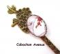 B3.219 bijou femme éventail papillon pivoines marque page ouvre-lettres coupe papier fleurs bijou fantaisie bronze cabochon verre fleurs d\'asie chine japon japonaises (série 1)