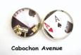 B3.398 bijou homme casino poker boutons de manchettes homme bijou poker - jeu de cartes as de pic bijou métal argenté 2 cabochons verre