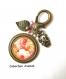 B3.415 bijou femme roses bijou de sac bijou fantaisie bronze cabochon verre liberty shabby chic romantique bouquet fleurs roses anciennes rétro vintage (série 5)