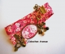 B3.433 bijou femme fleurs liberty fleuri rose bracelet biais tissu liberty bijou fantaisie bronze cabochon verre (série 2)