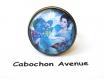 B3.437 bijou femme geisha fleurs sakura bague ajustable réglable bijou fantaisie bronze cabochon verre bleu turquoise femme d'asie chine japon japonaise (série 1)